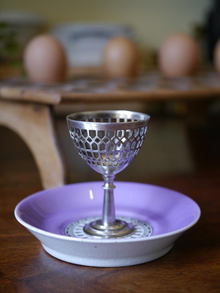 アンティーク エッグカップ 陶器 シルバープレート
