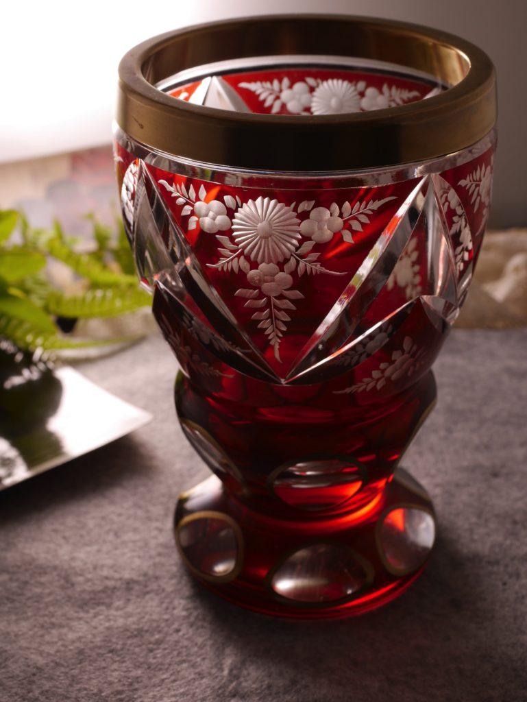 アンティーク ボヘミアガラス カットガラス