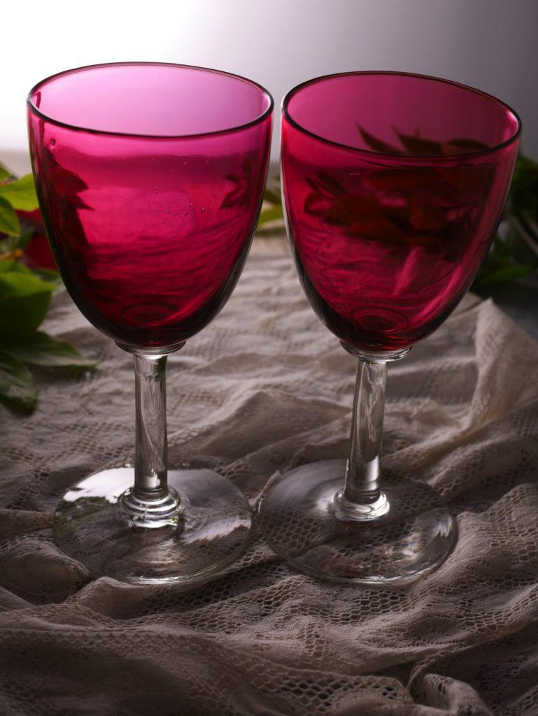 アンティーク ワインガラス クランベリーガラス