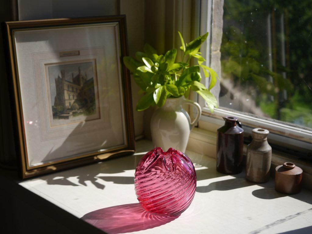 アンティーク  クランベリーガラス 花瓶